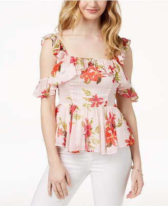 GUESS Cold-Shoulder Peplum Top