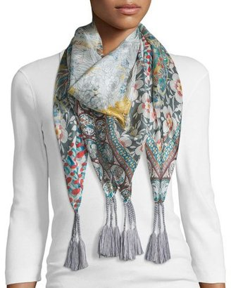 Johnny Was Monika Printed Silk Scarf, Multi Colors $100 thestylecure.com