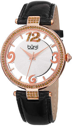 Burgi Womens Crystal-Embellished Black Leather Watch