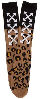 Off-White Arrow leopard-print socks
