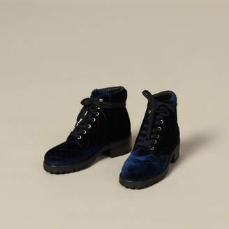Sandro Quilted Velvet Combat Boots