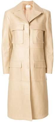 Chloé patch-pocket leather coat