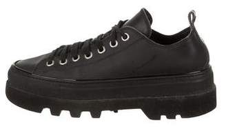 DSQUARED2 Leather Round-Toe Sneakers