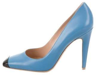 Gianvito Rossi Leather Cap-Toe Pumps
