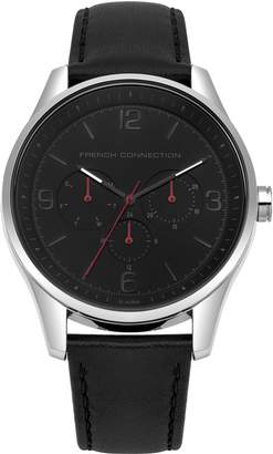 French Connection Men's Quartz Metal and Leather Casual Watch, Color: (Model: FC1307B)