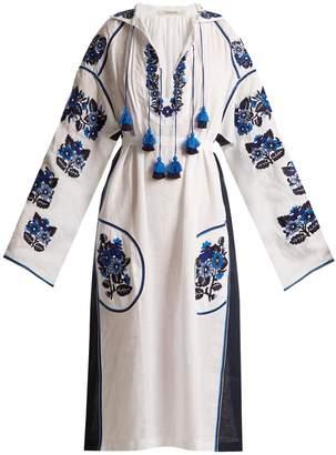 VITA KIN Pressed Flower embroidered mid-weight linen dress