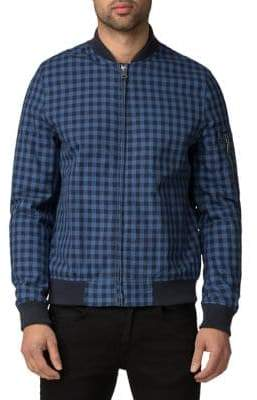 Ben Sherman Checkered Cotton Bomber Jacket