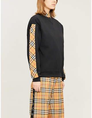 Burberry Checked cotton-blend sweatshirt