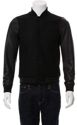 AllSaints Toku Leather And Wool Bomber Jacket