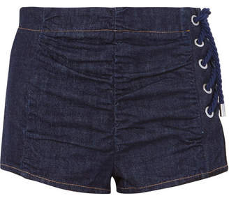 Carven (カルヴェン) - Carven - Lace-up Ruched Denim Shorts - Dark denim