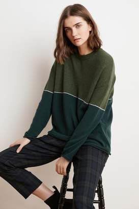 Velvet by Graham & Spencer RAVEN COLOR BLOCKED CASHMERE SWEATER