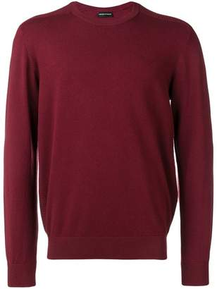 Emporio Armani knitted ribbed detailed jumper