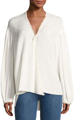 Magda Butrym Brest Silk Lace-Trim Blouse, Cream