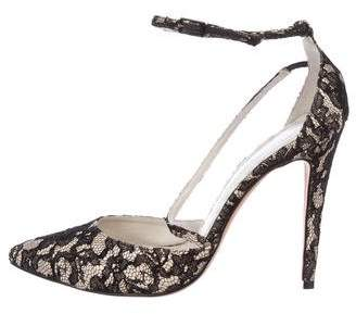 Alice + Olivia Lace Pointed-Toe Pumps