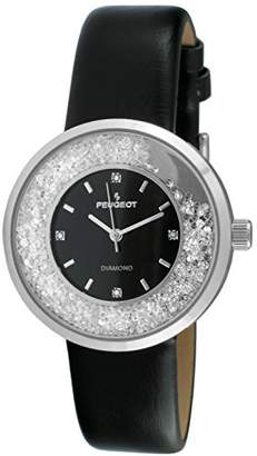 Peugeot Women's Round Silver Slim Thin Genuine Diamond Floating CZ Black Band Dress Watch 3041SBK