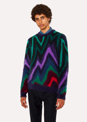 Paul Smith Men's Mohair-Blend 'Dreamer Stripe' Crew Neck Sweater