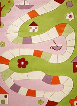 Little Helper 3D Childrens Play Rug in Playhouse Design, Pink/Multicoloured (80 x 150cm)