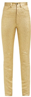 Maison Margiela Metallic Floral Brocade Cotton Blend Trousers - Womens - Gold