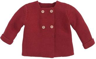 Elegant Baby Solid Cotton Cardigan - Red, Size 0-6m