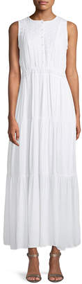 Neiman Marcus Eyelet Embroidered Tiered Maxi Dress