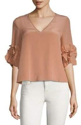 Ruffled Sleeve Silk Top