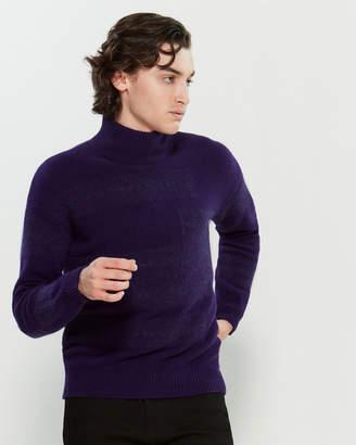 Roberto Collina Contrast Long Sleeve Mock Turtleneck Sweater