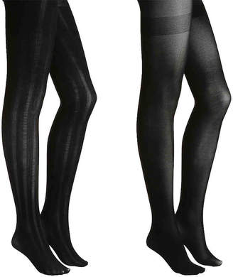 Via Spiga Matte Striped Tights - 2 Pack - Women's