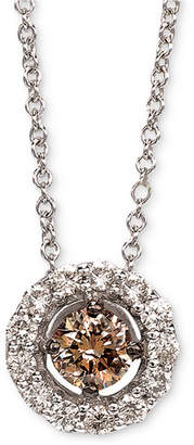"LeVian Le Vian Diamond Halo 18"" Pendant Necklace (1/2 ct. t.w.) in 14k White Gold"