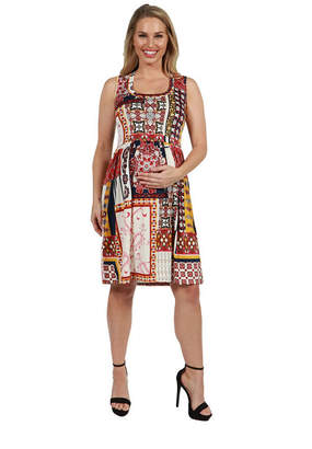24/7 Comfort Apparel 24Seven Comfort Apparel Tara Patchwork Plus Size Dress