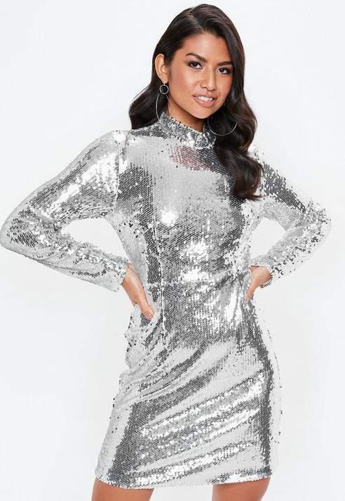 Tall Silver High Neck Sequin Dress, Silver