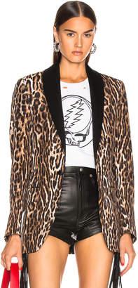 R 13 Shawl Lapel Tuxedo Blazer in Leopard | FWRD