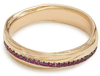 Alison Lou Ruby & Yellow Gold Fettucine Ring - Womens - Gold