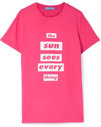 Paradised - Printed Cotton-jersey T Shirt - Bright pink