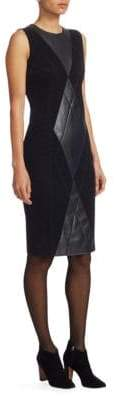 Akris Punto Women's Argyle Leather Front Dress - Black - Size 12