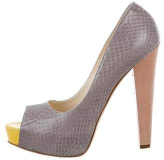 Brian Atwood Snakeskin Peep-Toe Pumps