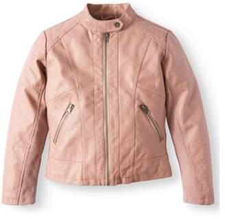 Sebby Faux Leather Tab Collar Jacket (Big Girls)