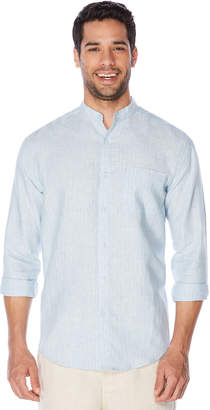 Cubavera Big & Tall 100% Linen Long Sleeve Banded Collar Button Down Shirt
