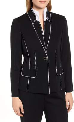 Ming Wang Contrast Jacquard Sweater Jacket