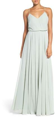 Jenny Yoo Collection Inesse Chiffon V-Neck Spaghetti Strap Gown