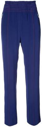 Area contrast-stitch straight-leg trousers
