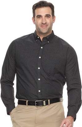 Van Heusen Big & Tall Classic-Fit Checked Wrinkle-Free Button-Down Shirt