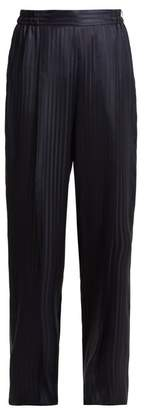 Stella McCartney High Rise Striped Jacquard Silk Satin Trousers - Womens - Navy