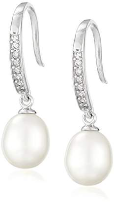 Bella Pearl Cubic Zirconia Chinese Freshwater Cultured Pearl Drop Earrings