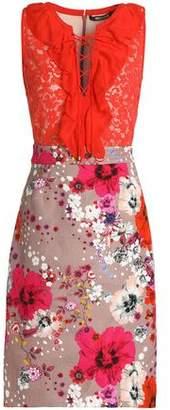 Roberto Cavalli Ruffle-Trimmed Lace-Paneled Floral-Print Jacqaurd Dress