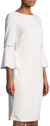 Neiman Marcus 3/4-Sleeve Pearl-Cuff Sheath Dress