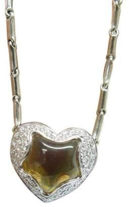 Chimento 18K White Gold Citrine Diamond Heart Pendant Necklace