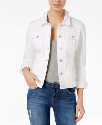 Maison Jules Bright White Wash Denim Jacket, Only at Macy's $79.50 thestylecure.com