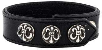 Chrome Hearts Fleur de Lis Leather Wrap Bracelet