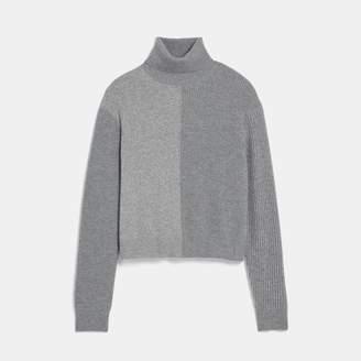 Cashmere Color Block Turtleneck Sweater