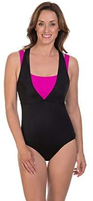 Reebok Women's On The Double Constructed Active One Piece Swimsuit